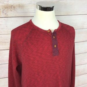 Lucky Brand Thermal Waffle Knit Henley Sz XL Red